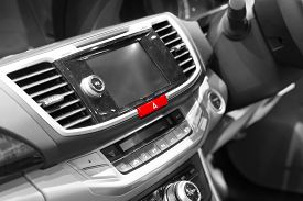 picture of emergency light  - Emergency lights button in modern car  - JPG