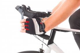 stock photo of levers  - Hand pressing bicycle brake lever - JPG