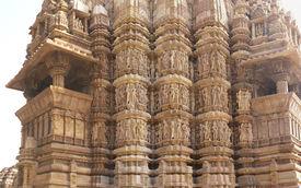 foto of kandariya mahadeva temple  - Shikara tower geometric decorations Kandariya Mahadeva Temple at Khajuraho India - JPG