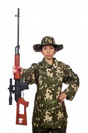pic of sniper  - Woman with sniper weapong isolated on white - JPG