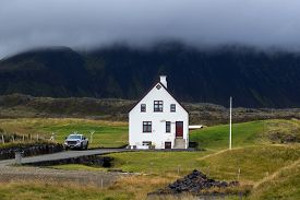 stock photo of farmhouse  - Farmhouse in remote parts of Iceland - JPG