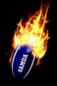 picture of samoa  - Samoa rugby ball against smoke - JPG