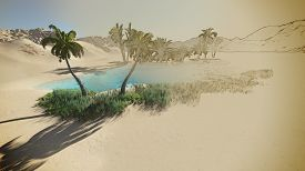 image of oasis  - Oasis in the desert made in 3d software - JPG