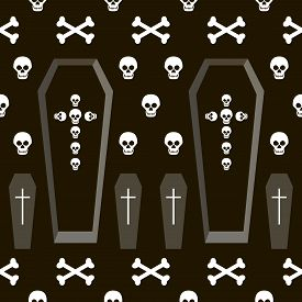 picture of skull cross bones  - Seamless Halloween pattern of coffins and crosses shapes skulls and bones - JPG
