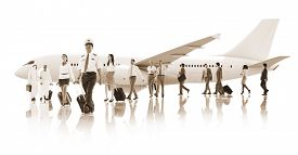 image of cabin crew  - Business People Cabin Crew Transportation Airplane Concept - JPG