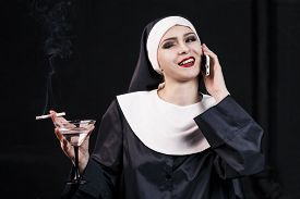 pic of lewd  - Smoking young nun - JPG