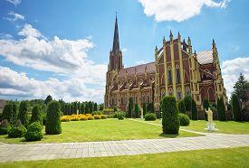 stock photo of trinity  - Holy Trinity catholic church Gervyaty village Grodno region Belarus - JPG