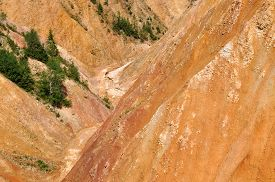 image of ravines  - Deep ravine with geological clay and sandstone layers - JPG