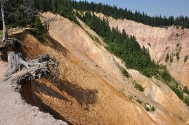 picture of ravines  - Deep ravine with geological clay and sandstone layers - JPG