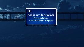 image of novosibirsk  - Novosibirsk Russia Airport Highway Road Sign at Night 3D Illustration - JPG