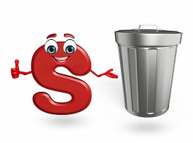 picture of dustbin  - 3d rendered illustration of alphabet S Cartoon Character with dustbin - JPG