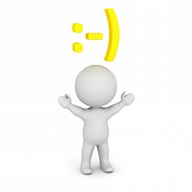 image of emoticon  - A 3D character with a smiley face 3D text emoticon above his head - JPG