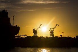 image of shipyard  - shipyard at sunset - JPG