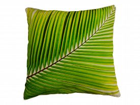 picture of pillowcase  - Decorative pillow with a pattern of green leaves - JPG