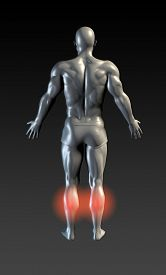 pic of calf  - Calf Injury with Red Glow on Area Series - JPG