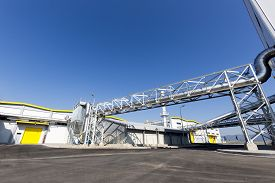 stock photo of combustion  - New modern industrial waste plant from the outside - JPG