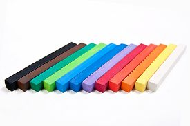 image of pastel  - View of different color chalk pastels isolated on the white background - JPG
