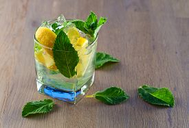 image of peppermint  - cocktail with lemon ice and peppermint leaves - JPG