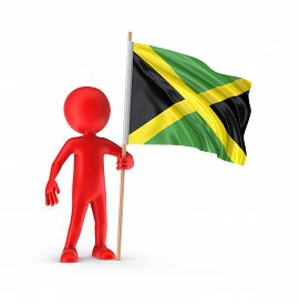 picture of jamaican flag  - Man and Jamaican flag - JPG