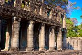 Temple with columns in Angkor, Cambodia