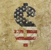 Us Dollar Flag Icon Sign Over Grunge Background poster