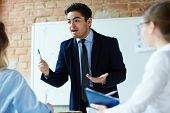 Business expert motivating colleagues not to ignore new working issues at meeting poster