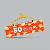 Sale Promotion Web Banner With Autumn Background. Promo Fall Season Discount Label Or Tag Layout Wit poster