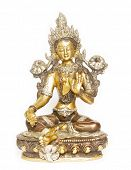 Indian tara statue against white background