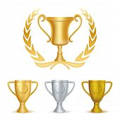 trophies-gold silver and bronze