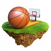 Basketball ball, backboard, hoop and court based on little planet. Concept for Basketball team or co