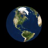 Real looking Earth planet. North America in the center. Globe is accurate and right like in reality.