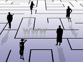 Labyrinth concept, internet theme, with business people silhouettes