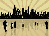 Stylized city with people silhouettes