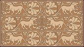 Abstract ornamental design with flora and fauna