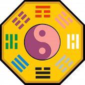 Vector Yin and Yang and bagua illustration