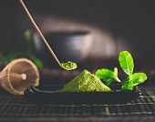 Matcha. Organic Green Matcha Tea ceremony. Matcha powder. Cooking with matcha, recipe. Vegetarian he poster
