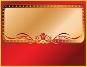 Vector solemn red and gold frame