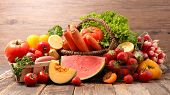 assorted raw fruits and vegetables poster