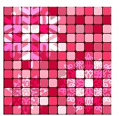 Geometric background in honeysuckle pink colors - with faded snowflakes (esp10) layered