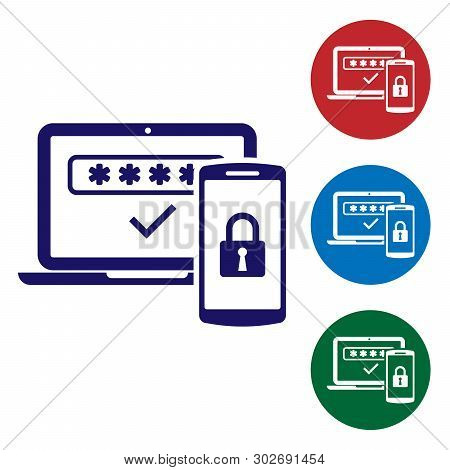 poster of Blue Multi Factor, Two Steps Authentication Icon Isolated On White Background. Set Color Icon In Cir