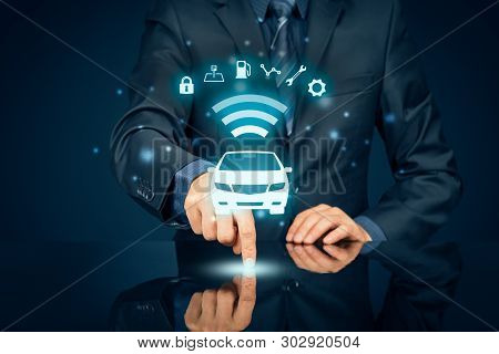 poster of Intelligent Car, Intelligent Vehicle And Smart Cars Concept. Symbol Of The Car And Information Via W