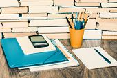 Textbook, Notebook, Smartphone, Laptop, Glasses, Stack Piles Of Literature, In Office Business Backg poster