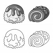 Vector Design Of Confectionery And Culinary Logo. Set Of Confectionery And Product Vector Icon For S poster