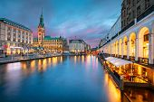 Hamburg, Germany. Cityscape Image Of Hamburg Downtown With City Hall During Sunset. poster