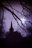 Dracula's land at sunset, church in Transylvania