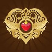 Golden Heart On Broun background