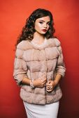 Perfect For Winter Cold. Young Woman In Elegant Winter Coat. Pretty Woman In Fashionable Fur Coat. F poster