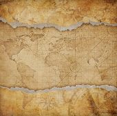 Vintage torn world map background poster