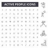 Active People Line Icons, Signs, Vector Set, Outline Illustration Concept poster