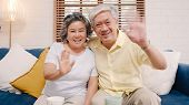 Asian Elderly Couple Using Smartphone Video Conference With Grandchild While Lying On Sofa In Living poster